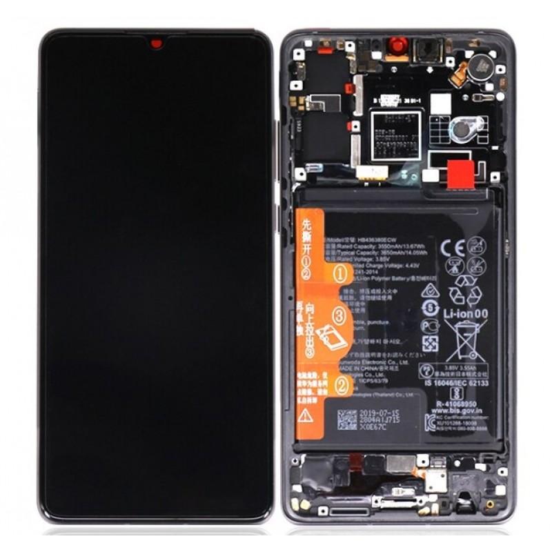 Оригинальный LCD экран и Тачскрин сенсор Huawei P30 модуль с рамкой + батарея