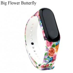 Ремешок Mi Fit для фитнес браслета - Xiaomi Mi band 3-4 (Big flower buttfly)