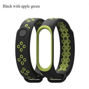 Ремешок Mi Fit для фитнес браслета - Xiaomi Mi band 3-4 (Black apple green)