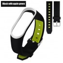 Ремешок Mi Fit для фитнес браслета - Xiaomi Mi band 3-4 (Black apple green 3)