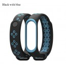 Ремешок Mi Fit для фитнес браслета - Xiaomi Mi band 3-4 (Black with blue)
