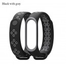 Ремешок Mi Fit для фитнес браслета - Xiaomi Mi band 3-4 (Black with gray)