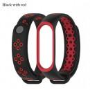 Ремешок Mi Fit для фитнес браслета - Xiaomi Mi band 3-4 (Black with red)