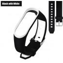 Ремешок Mi Fit для фитнес браслета - Xiaomi Mi band 3-4 (Black with white 3)