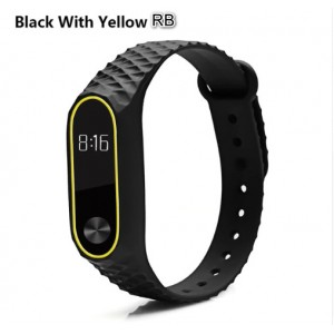 Ремешок Mi Fit для фитнес браслета - Xiaomi Mi band 2 (Black with yellow RB)