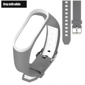 Ремешок Mi Fit для фитнес браслета - Xiaomi Mi band 3-4 (Gray with white 3)