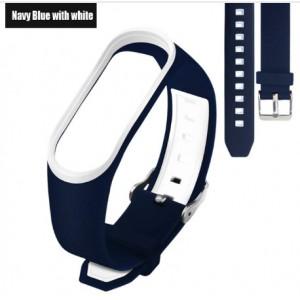 Ремешок Mi Fit для фитнес браслета - Xiaomi Mi band 3-4 (Navy blue with white 3)