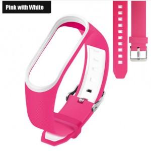 Ремешок Mi Fit для фитнес браслета - Xiaomi Mi band 3-4 (Pink with white 3)