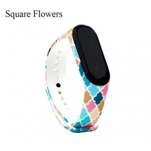 Ремешок Mi Fit для фитнес браслета - Xiaomi Mi band 3-4 (Square flowers)