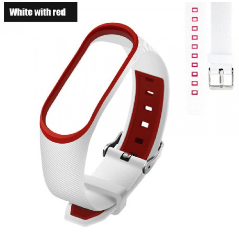 Ремешок Mi Fit для фитнес браслета - Xiaomi Mi band 3-4 (White with red 3)