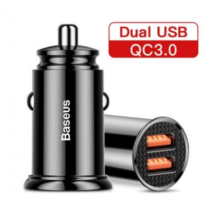 Авто ЗУ, прикуриватель BASEUS 30W быстрая зарядка QC 3.0 (USB x 2)