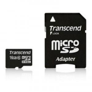 Флэш карта Transcend 16Gb microSDHC class 10 (TS16GUSDHC4) 16 Gb, microSD, с SD адаптером