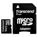 Флэш карта Transcend 16Gb microSDHC class 4 (TS16GUSDHC4) 16 Gb, microSD, с SD адаптером