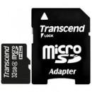 Флэш карта Transcend 32Gb microSDHC class 4 (TS32GUSDHC4) 32 Gb, microSD, с SD адаптером