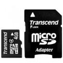 Флэш карта Transcend 4Gb microSDHC class 4 (TS4GUSDHC4) 4 Gb, microSD, с SD адаптером