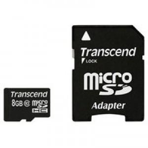 Флэш карта Transcend 8Gb microSDHC class 10 (TS8GUSDHC10) 8 Gb, microSD, с SD адаптером