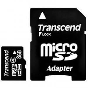 Флэш карта Transcend 8Gb microSDHC class 4 (TS8GUSDHC4) 8 Gb, microSD, с SD адаптером