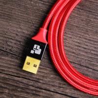 Низкопрофильный кабель TIEGEM Type-C, USB 3.1 - 480Mbps нейлон 24К Gold (1 метр)