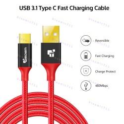 Низкопрофильный кабель TIEGEM Type-C, USB 3.1 - 480Mbps нейлон 24К Gold (3 метра)