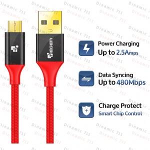 Низкопрофильный кабель TIEGEM Micro Usb 2A USB 3.1 - 480Mbps нейлон, 24К Gold (1 метр)