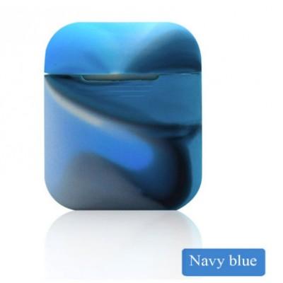 Мягкий силиконовый противоударный чехол - Airpods Apple (Navy blue)