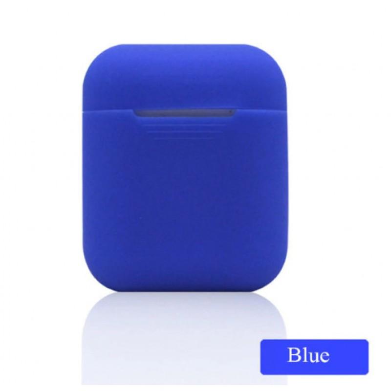 Мягкий силиконовый противоударный чехол - Airpods Apple (Blue)