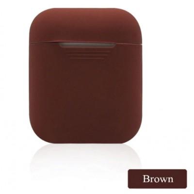 Мягкий силиконовый противоударный чехол - Airpods Apple (Brown)