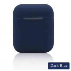 Мягкий силиконовый противоударный чехол - Airpods Apple (Dark Blue)