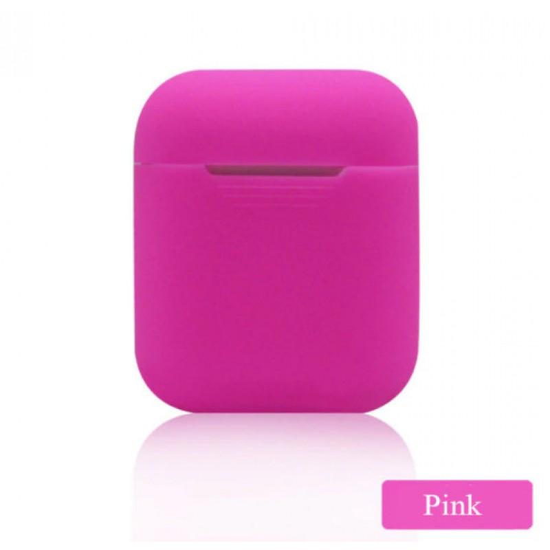Мягкий силиконовый противоударный чехол - Airpods Apple (Pink)