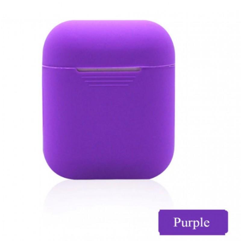 Мягкий силиконовый противоударный чехол - Airpods Apple (Purple)