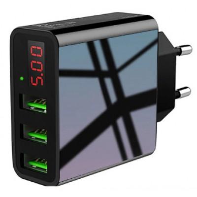 Зарядное устройство Original ROCK 3 usb (T14), со светодиодным дисплеем и быстрой зарядкой 2.0