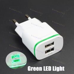 Зарядное устройство AIXXCO USB адаптер на 2 юсб входа (5V, 2.1A) с LED подстветкой
